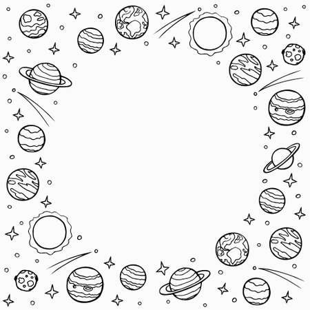 Round frame of planets and stars with empty space for text. Hand drawn doodle cosmos, solar system. Template for social networks. Stock vector illustration isolated on transparent background.