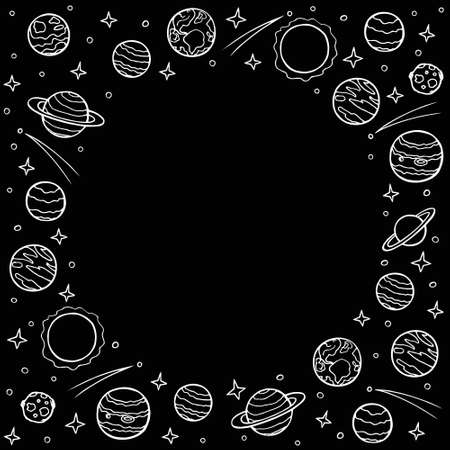 Round frame of planets and stars with empty space for text. Hand drawn doodle cosmos, template for social networks. White chalk line art on black background. Stock vector illustration isolated.