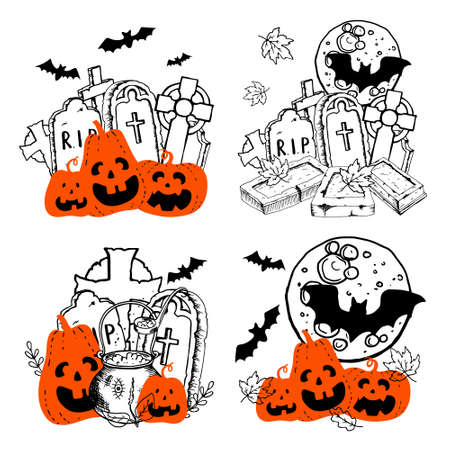 Halloween orange smiling creepy pumpkins witchs cauldron with potion headstones celtic cross bat. Hand drawn doodle compositions set. Stock vector illustration isolated on white background