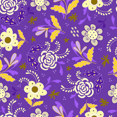 Seamless pattern of bright flowers and leaves in the Scandinavian style. Floral background for wrapping paper and scrapbooking. Design for fabric. Stock vector flat illustration.