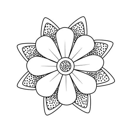 Flower with leaves old school traditional classic tattoo. Hand Drawn Black Outline Doodle Logo Icon. Coloring book page. Stock vector illustration isolated on white background.