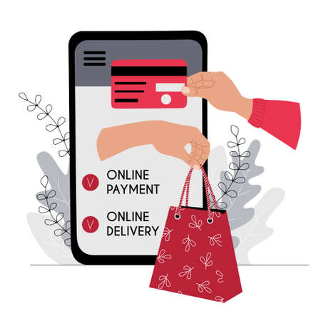 Online payment and delivery concept illustration. A hand holds out a credit card to a smartphone to pay for the goods. The other hand holds out a shopping bag.