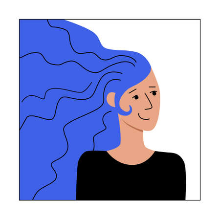 Young woman with long hair smiling. Concept of harmony happiness joy. Flat modern character for web ui ux design. Social media avatar user icon. Stock vector illustration isolated on white background