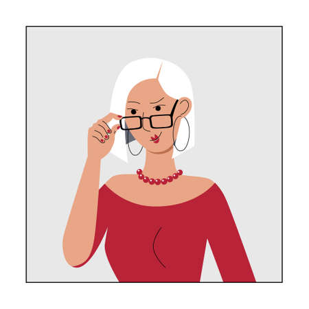 Smart well dressed young woman with glasses. Blonde with a bob hairstyle looks over glasses. Modern character avatar for social media user icon. Stock vector flat illustration isolated on white