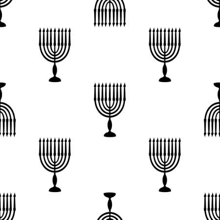 Hanukkah symbol menorah with candles black silhouette seamless pattern. Background for Jewish festival of light for wrapping or scrapbooking paper banner. Stock vector flat illustration Illusztráció