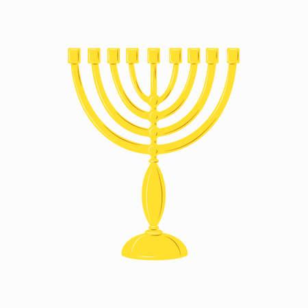 Hanukkah menorah golden yellow candlestick with 9 candles. Chanukah Jewish Holiday festival of lights symbol. Stock vector flat isolated element icon on a white background Illusztráció