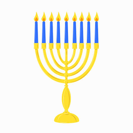 Hanukkah menorah golden yellow candlestick with 9 blue burning candles. Chanukah Jewish Holiday festival of lights symbol. Stock vector flat isolated element icon on a white background