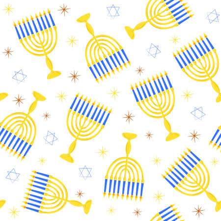 Hanukkah symbols menorah with candles star of david seamless pattern. Hand drawn background for Jewish festival of light for wrapping or scrapbooking paper banner. Stock vector flat illustration Illusztráció
