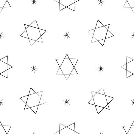 Judaic symbol star of David seamless pattern. Israeli religion Judaism. Hand drawn black silhouette background for wrapping scrapbooking paper. Stock vector illustration isolated on white background
