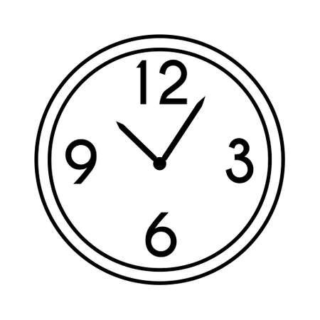 Wall round mechanical clock with hands and numbers 12 3 6 9. Chronograph timekeeping device. Hand drawn flat cartoon home or office decor. Stock vector illustration isolated on white background.