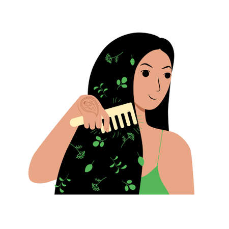 Young brunette woman character combs her long loose hair. Natural herbal cosmetics wooden comb made from eco friendly materials. Daily self care routine. Stock vector illustration isolated on white.