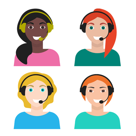 Set of woman telemarketer, call center operator, hot line, vector illustration, isolated on white background, flat style Vettoriali