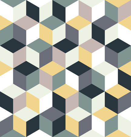Seamless pattern of colored cubes. Endless multicolored cubic background. Cubical background. Abstract seamless background with cube decoration. Vector illustration.