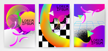 Colorful modern abstract posters, covers, templates with gradients, thin line smoke wave,  liquid shape on gray background. Vector illustration.