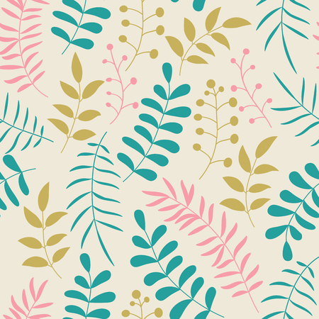 Cute colorful floral seamless pattern with branches and leaves. Doodle forest background. Vector illustration.