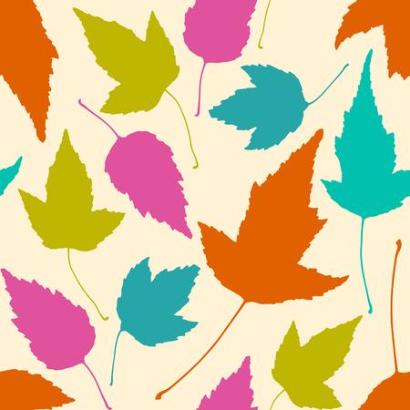 ベージュの背景にカラフルな葉と花のシームレスなパターン。ベクトルイラスト。