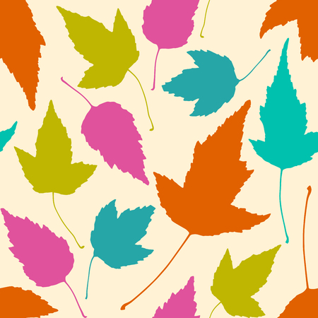 Floral seamless pattern with colorful leaves on beige background. Vector illustration. Stock Illustratie
