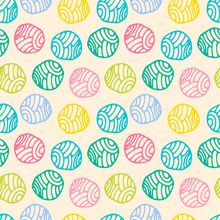 Colorful doodle polka dot background. Abstract round seamless pattern. Vector illustration. Иллюстрация