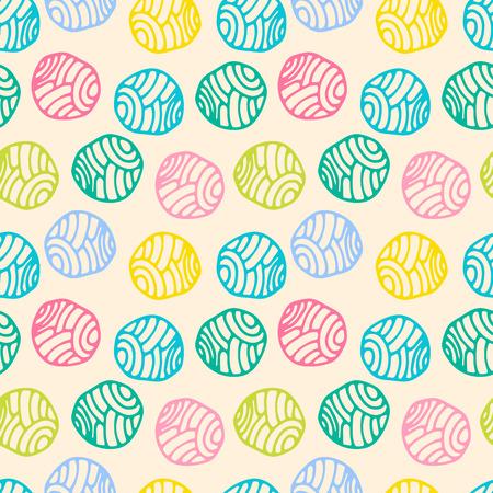 Colorful doodle polka dot background. Abstract round seamless pattern. Vector illustration. Ilustração