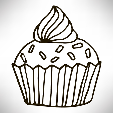 Cute hand drawn cupcake icon. Cake of black thin line contour isolated on white background. Design element for coloring book for adults vector illustration.