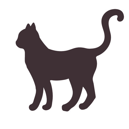 Black silhouette of a standing, walking cat isolated on white background. Vector illustration.