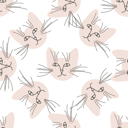 Seamless pattern with cat muzzles. Vector illustration. Illustration