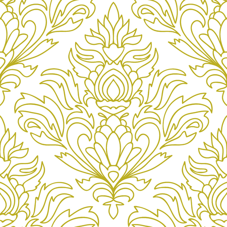Curly thin line damask seamless pattern with flowers, leaves. Infinity background, floral ornament for coloring book. Vector illustration.