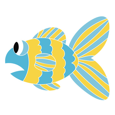 Cartoon colorful sad fish isolated on white background. Fishs mouth opened in shock. Vector illustration.