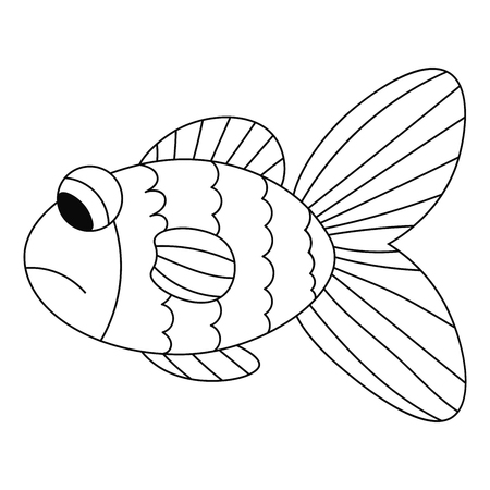 Sad contour fish isolated on white background for coloring book. Vector illustration.
