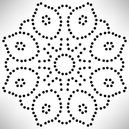 Ornamental round dotted flower isolated on white background. Black halftone mandala. Geometric circle element. Vector illustration.