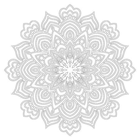 Ornamental round doodle flower of extra thin lines isolated on white background. Black outline mandala. Geometric circle element. Illustration