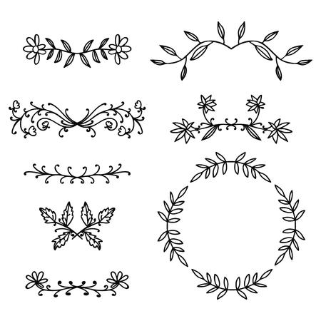 Insieme degli elementi floreali di doodle di linea sottile nera con rami e foglie isolati su priorità bassa bianca. Illustrazione vettoriale.