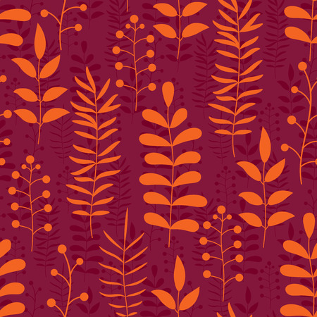 Floral autumn orange and marsala red seamless pattern with branches and leaves. Autumn foliage background. Natural ornament. Cute flowers wrapping paper. Vector illustration.