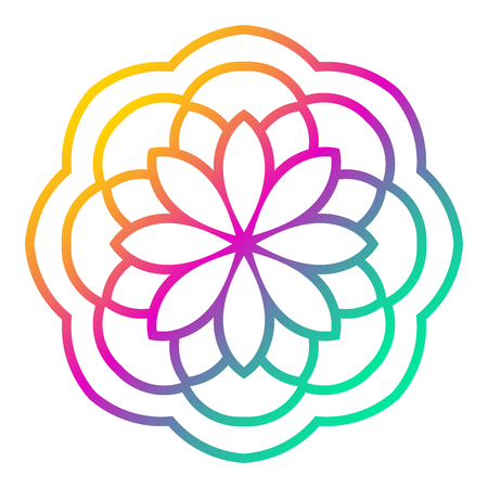 Colorful gradient flower mandala. Hand drawn decorative element. Ornamental round doodle floral element isolated on white background.