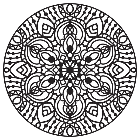 Ornamental round doodle flower isolated on white background. Black outline mandala. Geometric circle element.