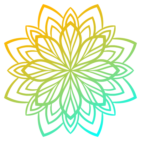 Colorful gradient round element. Mandala. Ornamental doodle flower isolated on white background. Illustration