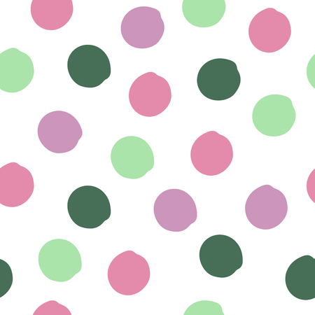 Colorful cute grunge polka dot. Grungy dotted seamless pattern. Textured circles on white background. Vector illustration.