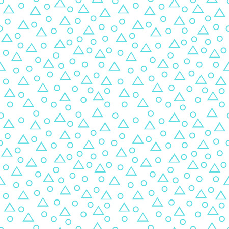 Seamless blue and white geometric pattern with thin line randomly arranged triangles and rings on white background. Abstract geometrical background of triangle, circle. Ilustração