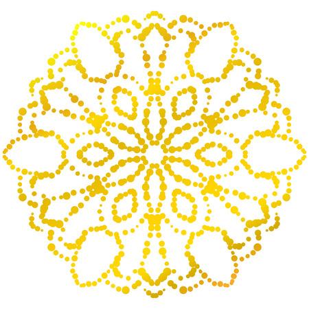 Gold dotted flower mandala. Decorative element. Ornamental round halftone isolated on white background. Geometric circle. Vector illustration. Illustration