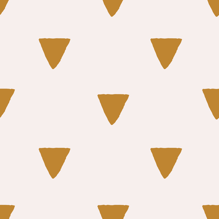 Gold triangular background on pastel pink. Seamless grunge geometric pattern. Cute abstract triangle geometrical background. Vector illustration.