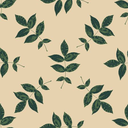 Floral seamless pattern with branches and leaves. Autumn leaf background. Can be used for wallpaper, pattern fills, web page background, surface textures.