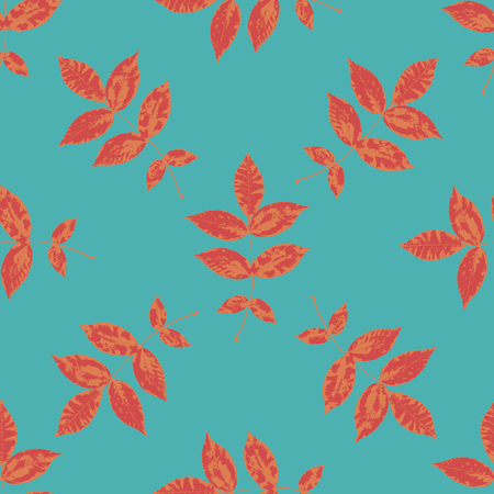 Floral seamless pattern with orange, red branches and leaves on blue. Autumn leaf background. Can be used for wallpaper, pattern fills, web page background, surface textures. Illustration