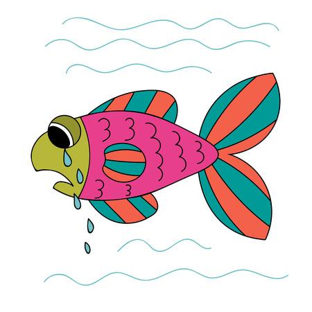 Crying cartoon fish. Sad hand drawn green, pink, orange fish isolated on white background. Vector illustration. Illustration