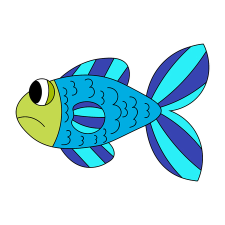 Blue cartoon sad fish isolated on white. Vector illustration. Illustration