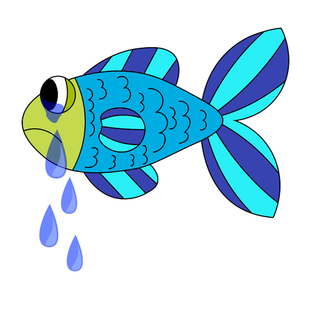 Crying cartoon fish. Dropping the tears from fish eyes. Sad blue and green fish isolated on white background.