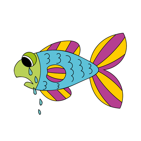 Crying cartoon fish. Dropping the tears from fishs eyes. Sad hand drawn blue and violet, yellow, green fish isolated on white background. Vector illustration.