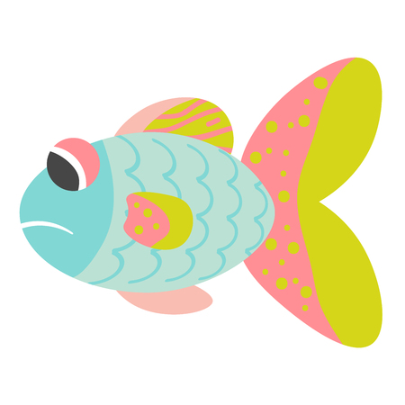 Sad cartoon blue, pink, yellow fish isolated on white background. Illustration