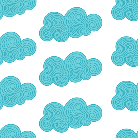 Seamless abstract background with doodle curly clouds on white background. Infinity geometric pattern. Vector illustration. Illustration