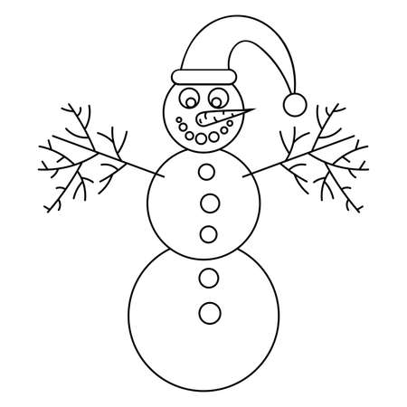 Thin line smiling snowman with santa hat and carrot isolated on white. Black outline. Vector