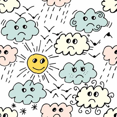 Seamless pattern with sun, cloud, rain, bird on white background. Cartoon weather background. Vector illustration. Illustration